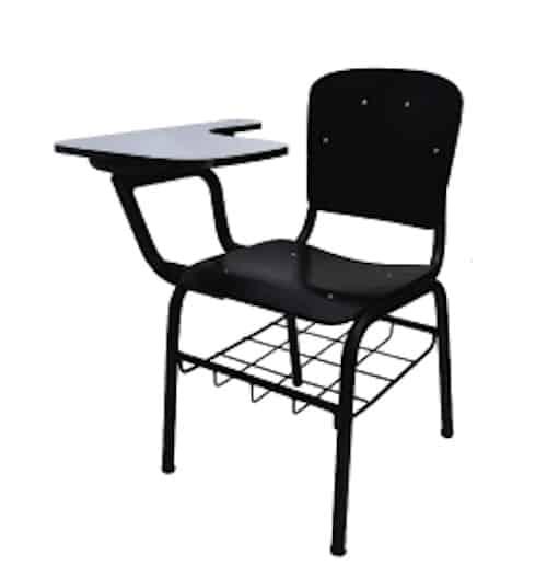 Kursi kuliah warna hitam bukan untuk lipat penuh. hanya bagian menulis aja