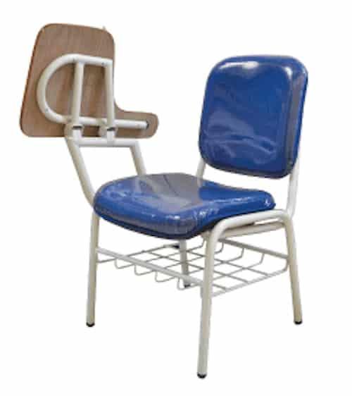 kursi kuliah warna biru lipatan pada bangku menulis